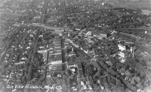 HILLSDALE, MICHIGAN BIRDS EYE VIEW-1939 RPPC REAL PHOTO POSTCARD