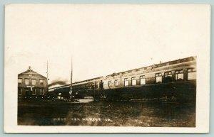 Van Horne Iowa~Railroad Depot~? & St Paul Passenger Train at Station~1910 RPPC