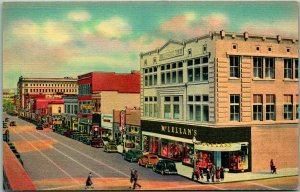 Albuquerque, Linen Postcard Central Avenue / 4th Street Route 66 Linen 1940s