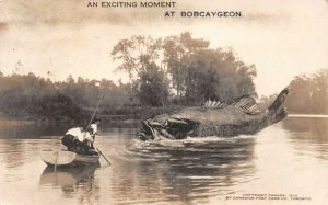 LPS70 Bobcaygeon Ontario ONT Canada Three Men Fishing Exaggeration Postcard