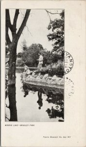Mirror Lake Bradley Park Man & Woman Peoria Souvenir Co. c1904 Postcard F24