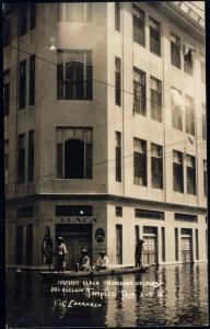 mexico TAMPICO Edificio Llaca,  Boat, TORNADO 1933 RPPC