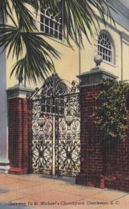 South Carolina Charleston Gateway To St Michael's Churchyard 1946