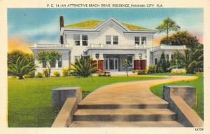 PANAMA CITY, FL Florida   LARGE HOME On BEACH DRIVE   c1940's Linen Postcard