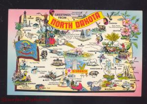 STATE OF NORTH DAKOTA MAP VINTAGE POSTCARD ND