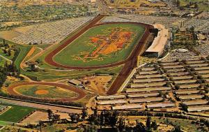 ARCADIA, CA California  SANTA ANITA PARK~Aerial View BARNS~TRACK Chrome Postcard