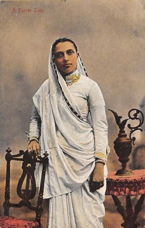India A Parsee Lady, Parsi, Parsee, Native Traditional Woman, Costume, Clothing