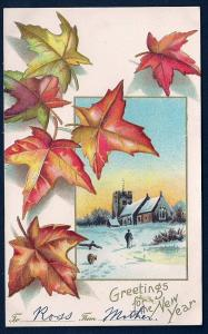Greetings for the New Year Fall Leaves Church unused c1910
