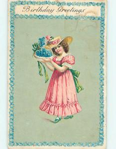 Water Marked 1908 CUTE GIRL IN NICE HAT HOLDING BASKET OF BLUE FLOWERS o9460