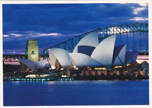 Australia Sydney Opera House and Harbour Bridge at Dusk