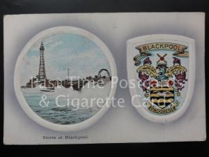 Blackpool: Storm at Blackpool c1910 Heraldic Coat of Arms - Pub by A.P.Co. B.
