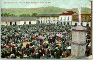 Postally-Used RIOBAMABA, Ecuador Postcard Plaza de Santo Domingo 1912 Cancel