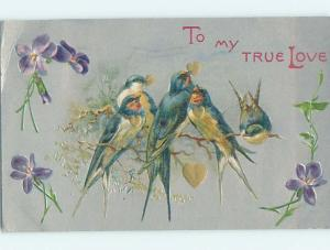 Pre-Linen valentine BEAUTIFUL BIRDS HOLD GOLDEN HEARTS IN BEAKS HJ2231