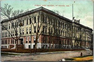 1908 Fort Wayne, Indiana Postcard PUBLIC HIGH SCHOOL Building / Street View