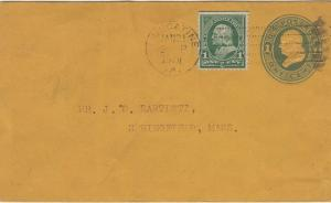 MUSCATINE IOWA - Nice embossed envelope + stamp 1901 / D T Eaton