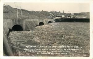 Glasgow Montana~Fort Peck Dam~Diversion Tunnels In Use~1930s Real Photo~RPPC