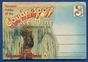Coudersport Ice Mine Pennsylvania pa linen unposted postcard folder