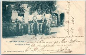 1901 JEREZ, SPAIN Postcard Pisadores de Uvas Grape Pushers Winery Not Mailed