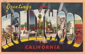 Greetings from HOLLYWOOD California, advertising Postapuzl Postapres, Highlights