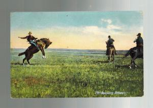 1912 Picture Postcard Cover Cowboy on Bucking Bronco Horse Winkler Canada