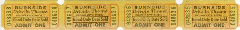 4 Burnside Drive-In Movie Theatre Tickets, Brown City, Michigan/MI, 1960's?