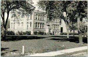 1940s NORTHWOOD, North Dakota RPPC Photo Postcard PUBLIC SCHOOL Building View
