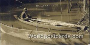 Malaya, Malaysia  Malayan Canoe Real Photo