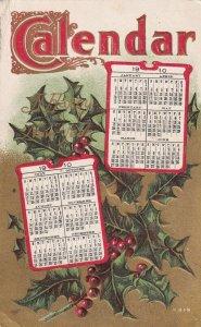 NEW YEAR, PU-1909; CALENDAR, 1910; Holly