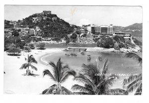 RPPC Mexico Acapulco Playa Caletilla Gro Panorama Boats Beach Hotels RP Postcard