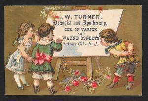 VICTORIAN TRADE CARD Turner Druggist Three Girls Dressed Up & Flowers
