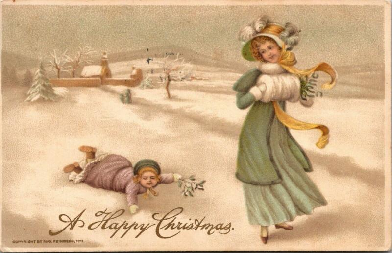 Christmas~Lavender Lil Girl Falls in Snow~Mint Green Victorian Lady~Max Feinberg