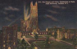 North Carolina Durham The Chapel and Center Quadrangle At Night Duke Universi...