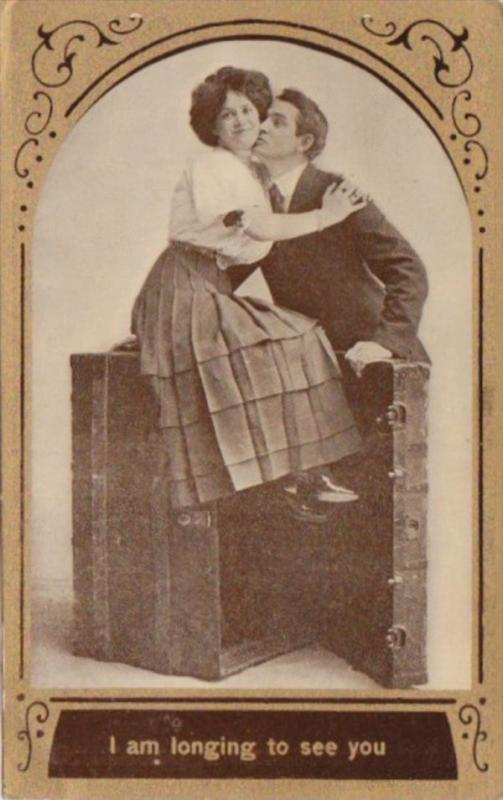 Romantic Couple Sitting On Trunk I Am Longing To See You 1910