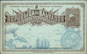 Republica Del Salvador Government Postal Card w/ Map 1890s