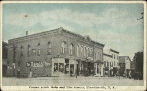 Franklinville NY South Main & Elm Rexall Drug Store c1915 Postcard