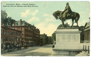 Worcester, Mass, Lincoln Square, General Devens Statue and Main Street