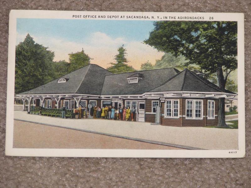 Post Office & Depot at Sacandaga, N.Y., in the Adirondacks, unused vintage card