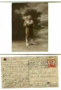 pc782 postcard Young Boy Hand colored Real Photos