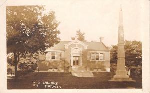 Tipton Iowa~Carnegie Public Library~Civil War Soldiers Monument~1911 RPPC