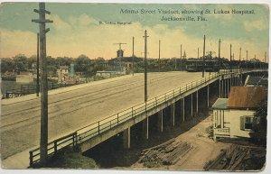 Old Postcard Adams Street Viaduct Showing St. Lukes Hospital Jacksonville, FL