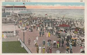 Busy Boardwalk at Asbury Park NJ, New Jersey - pm 1925 - WB