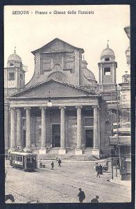 Square & Church of Annunciation Genoa Italy unused c1920's