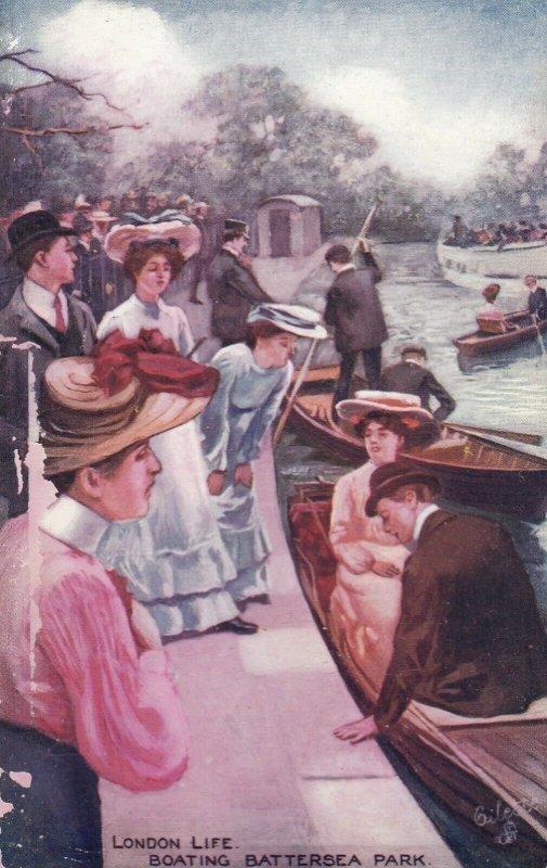 LONDON , England , 1900-10s; Boating, Battersea Park, TUCK 9276