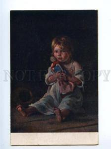 138041 Girl w/ DOLL by LEMOKH vintage RUSSIAN color PC