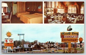 Adel Georgia~King Frog Restaurant Inside~Amphibious Sign~Quality Motel $8~1970s