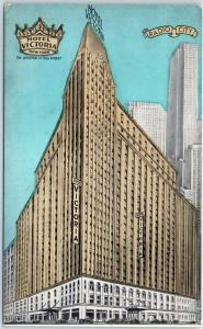 c1940s New York City Postcard HOTEL VICTORIA Artist's Street Scene Lumitone