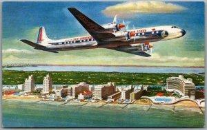 Vintage 1950s EASTERN AIR LINES Advertising Postcard Golden Falcon DC-7B Plane