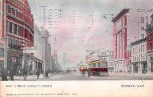 Canada Manitoba, Winnipeg, Main Street, Looking North, bicycle bike, trams 1905