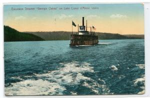 Steamer George Oakes Lake Coeur d'Alene Idaho 1912 postcard