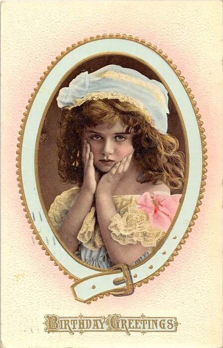 9616 Birthday  Portrait of Young girl  inside of frame of a belt